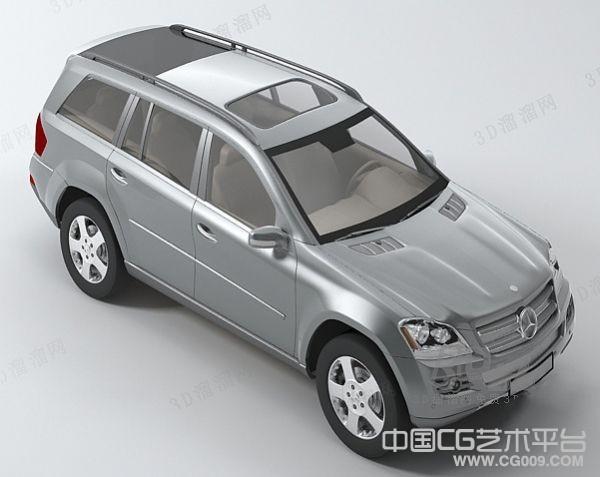 银白色奔驰商务轿车3d模型下载