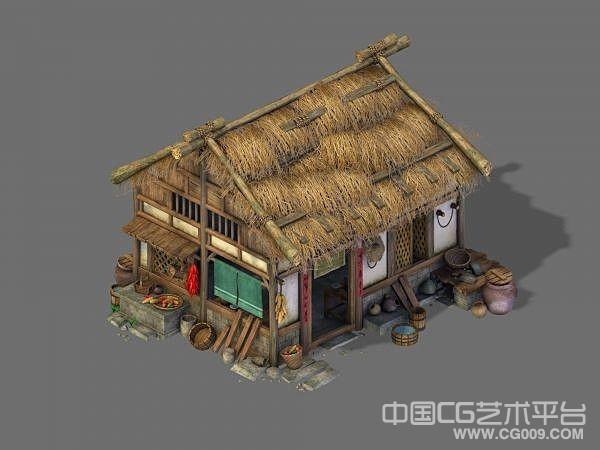 非常精细写实茅草屋3d场景模型下载  喜欢收藏