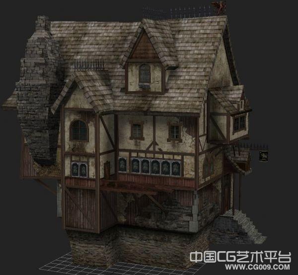 战锤场景大气建筑场景模型 带贴图