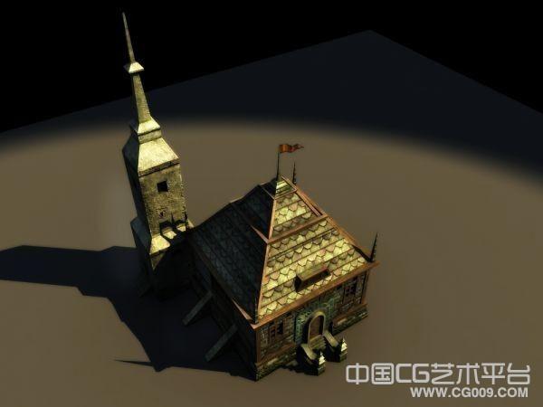 次时代写实欧式小教堂3d场景模型下载