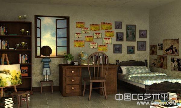 非常唯美漂亮的儿童房间3d场景模型下载
