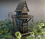 荷花池塘中的木楼3d场景模型下载