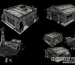 废旧科幻军用战舰 飞船 军用仓库3d模型下载