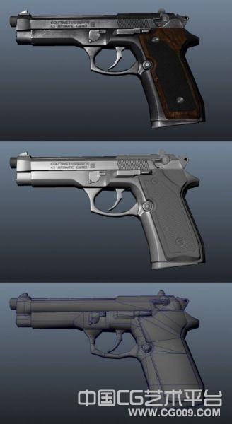 一把非常精细的手枪 带法线贴图和高光贴图