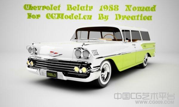 1958的雪佛兰游牧人3d汽车模型下载