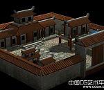 农村小型四合院3d建筑模型下载