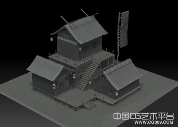 非常精细的古代客栈建筑模型