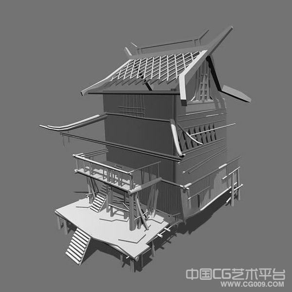 不错的茅草屋3d建筑模型下载