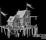 比较简洁的卡通房子适合做动画场景