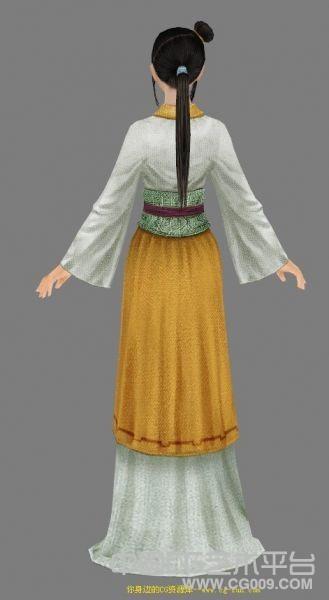 中国游戏古装秀气美女模型,个人很喜欢这种风