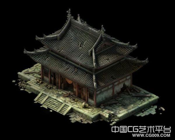 废弃的破庙主殿写实建筑模型免费下载,补上贴
