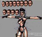 精品性感邪恶女警奶霸女军官模型带贴图带表情