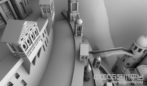 欧式古代城堡建筑素模下载