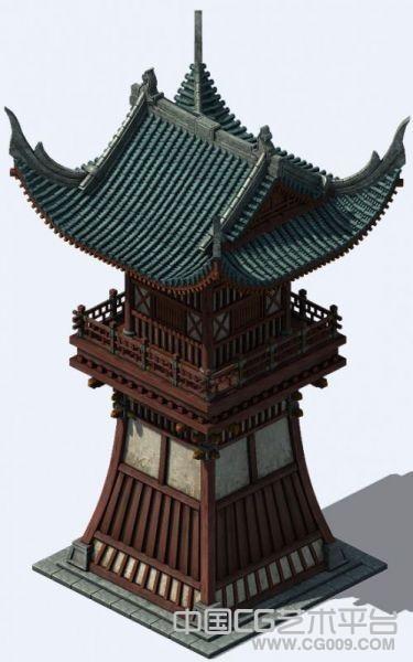 超写实游戏古建筑模型-洛阳城角楼写实高模带贴