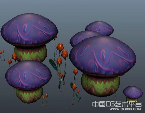 非常漂亮的彩色蘑菇模型下载