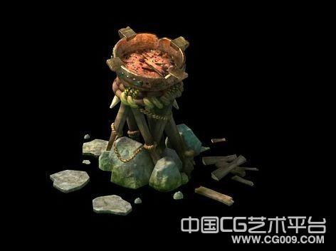 碎石上搭建的火盆场景模型