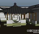江南庭院建筑场景模型