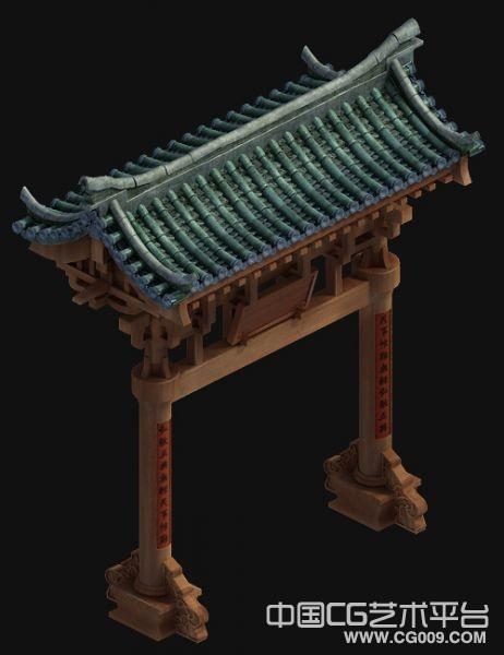 木质牌坊高模建筑模型 有贴图 非常精细【可资