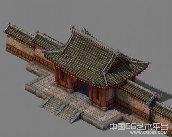 写实古代府衙建筑大门场景高模 带高清贴图