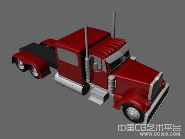 大卡车 拖车3D模型下载