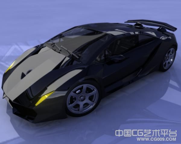 黑色炫酷跑车3D模型下载 有贴图