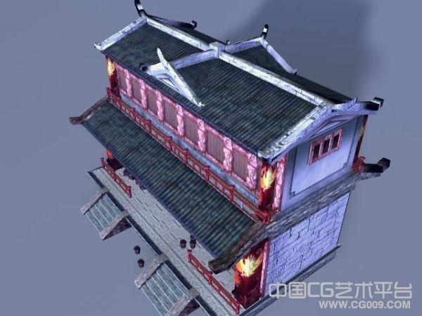 着火的古代居民楼破3D旧场景建筑模型下载