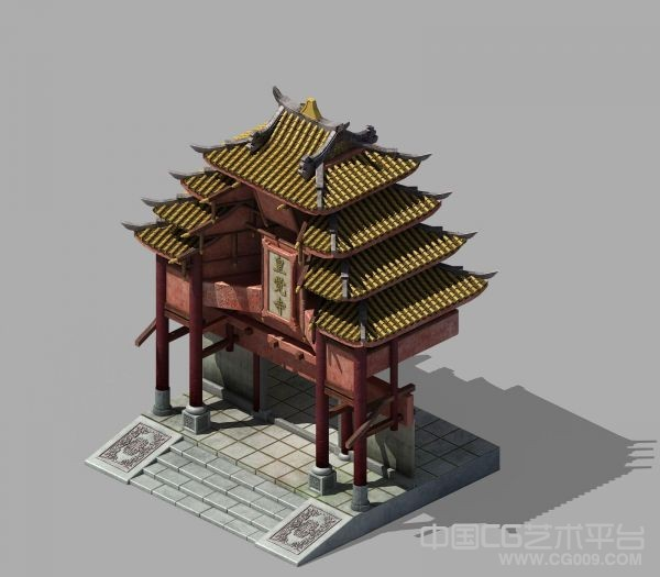 红木黄瓦寺庙庙堂牌坊古建筑模型