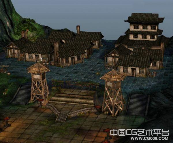 部落山寨大型建筑场景模型下载 有山有房子