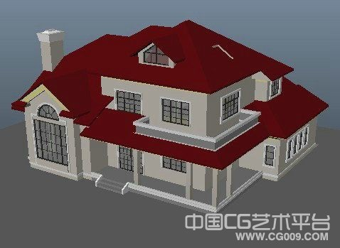 欧式红色别墅建筑模型下载