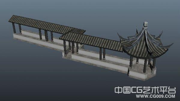 长廊亭子3d场景模型下载