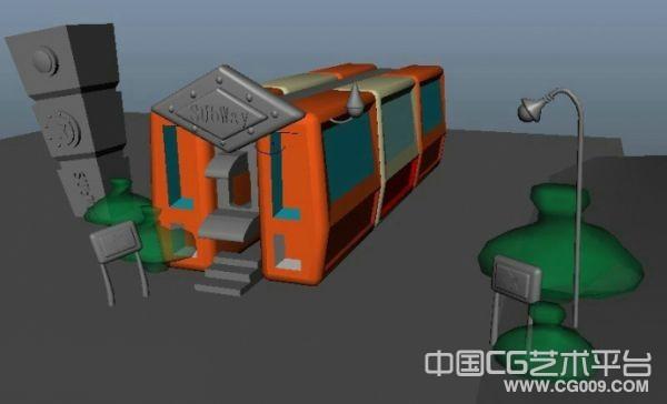 Q版房车3d场景模型下载