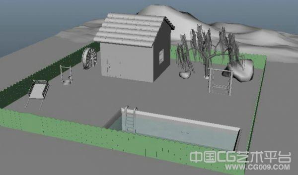 一个小院子maya场景模型下载