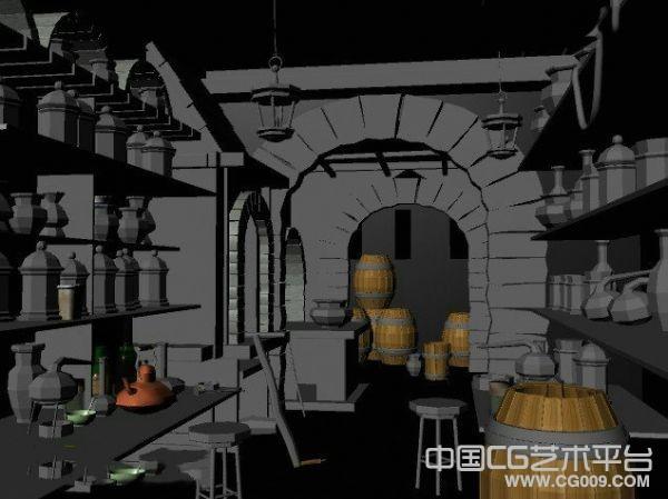 精灵魔法师实验室maya场景模型下载