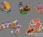 5个Q版场景精美小木屋卡通小房子建筑场景3dmax模