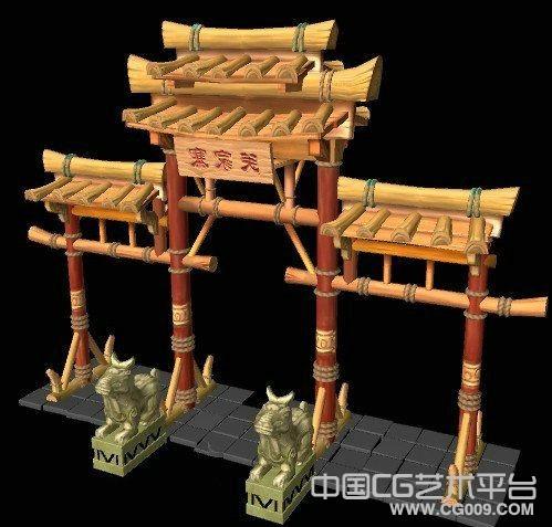 山寨木制牌坊模型下载