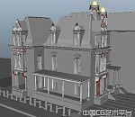 欧式建筑场景模型下载