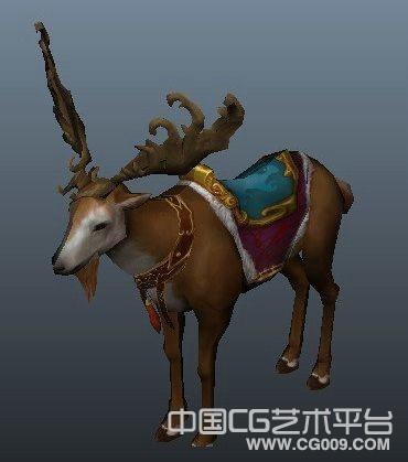 一只漂亮的鹿梅花鹿坐骑maya鹿长角鹿3d模型下载