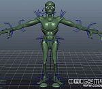 绿色怪物模型,maya绑定好了~