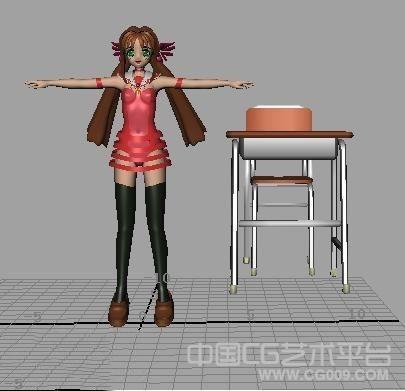 日本性感学生装扮卡通女孩3d模型下载
