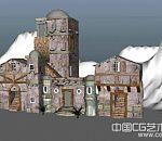 山中酒庄maya写实场景模型下载