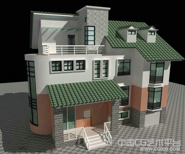 发一个小洋楼场面模型 渲染的不错的模型 有贴