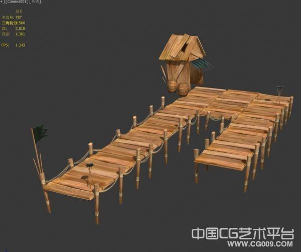 一个水上小木屋场景模型