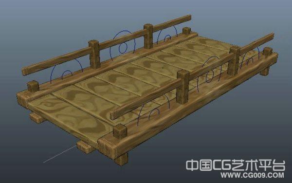 一个卡通木质小桥场景模型下载,maya木桥模型