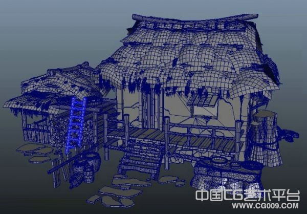 maya茅屋模型下载