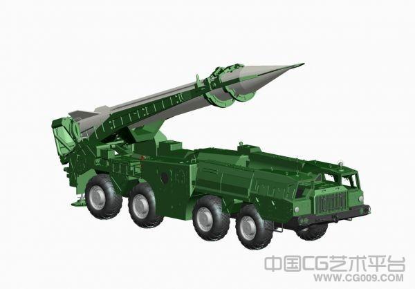 高精模飞毛腿导弹装甲车3D模型下载   二炮装导
