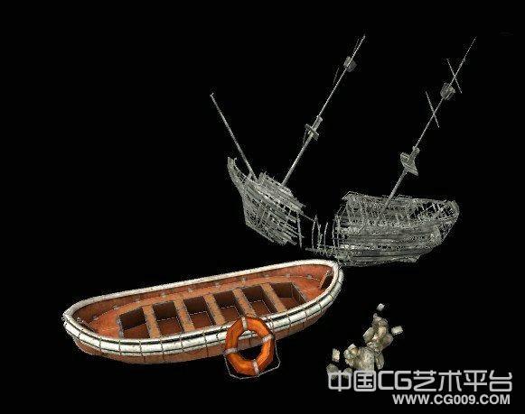 救生艇根破船模型