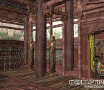 破损的木质古庙室内场景maya模型下载