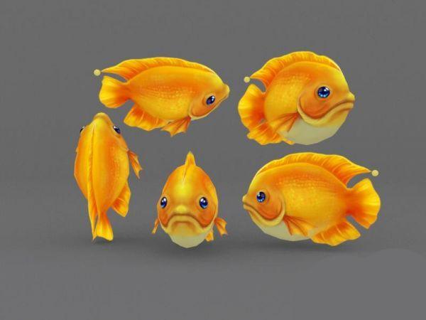 原创手绘小黄鱼3d模型出售 金黄色小鱼 可爱的卡