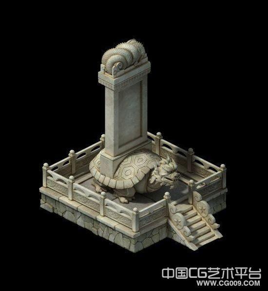 游戏主城功德碑写实3d场景模型下载 有贴图