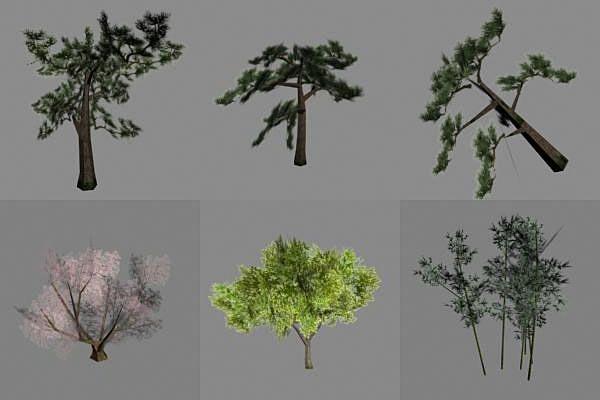 收集了一批树木底模模型,分享给大家